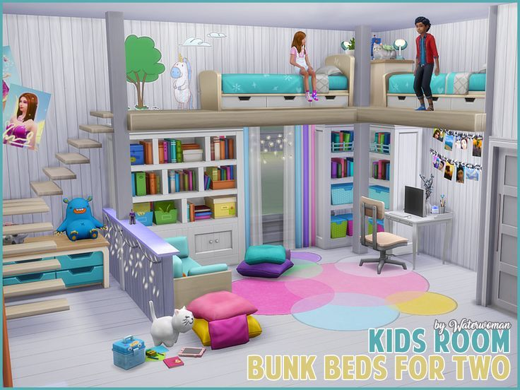 Sims 4 Cc Children 39 S Room With Bunk Beds For Two Persons Sims 4 Loft Sims House Sims 4 Bedroom