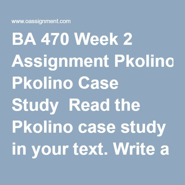 """BA 470 Week 2 Assignment Pkolino Case Study  Read the Pkolino case study in your text. Write a 2-3 page APA style paper that includes a discussion of the following: Provide a summary of the Pkolino """"story"""". Is the business plan thorough and capture all of the learning that Antonio and JB have accumulated? If not, what additional questions do you believe Antonio and JB need to answer through further planning before they launch the venture? What are the weakest parts of the business plan?…"""