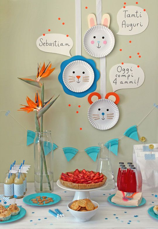 Guirnaldas de platos de colores!!! decoracion-cumpleaños