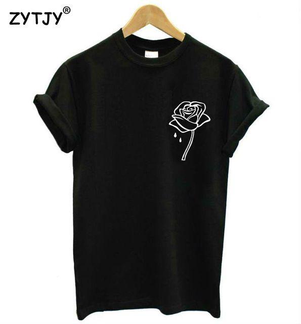 Flor color de rosa de impresión de bolsillo de las mujeres camiseta de algodón casual camiseta divertida de la señora top camiseta inconformista tumblr z-970 nave de la gota