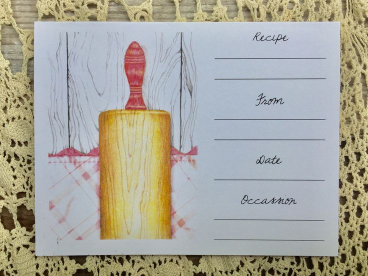 These recipe cards are created from prints of original colored pencil drawings. They are printed on linen cardstock and are lined on the inside and the back.  4 recipe cards included (2 of each design) 4 envelopes  Inspired by the book At Home in this Life: Finding Peace at the Crossroads of Unraveled Dreams and Beautiful Surprises by Jerusalem Jackson Greer https://www.amazon.com/Home-this-Life-Crossroads-Unraveled/dp/1612616321/ref=pd_rhf_gw_p_img_1?_encod...