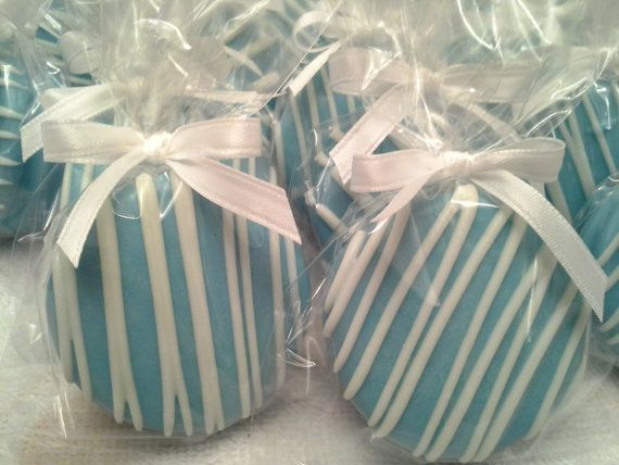Baby Blue Chocolate Covered Oreos Cookies Baptism Favors Christening Favors Boy's Birthday Favors Baby shower Tiffany Blue Edible Favors on Etsy, $17.00