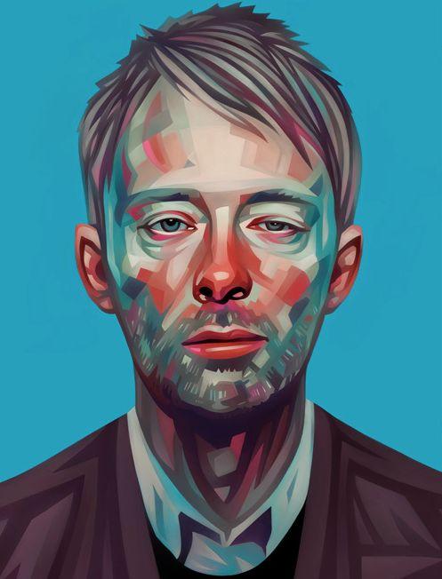 Thom Yorke by Evgeny ParfenovThomyork, Inspiration, Thom Yorke, Evgeni Parfenov, Rolls Stones, Celebrities Portraits, Digital Painting, Bold Colors, Art Illustration