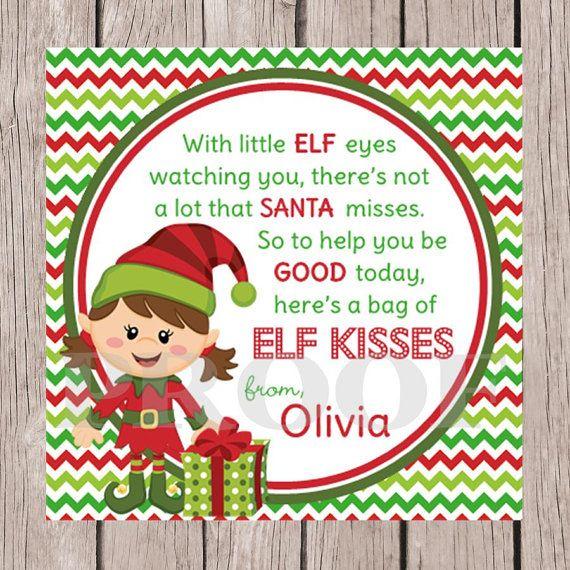 Diy printable elf kisses holiday favor tags choose boy or girl elf