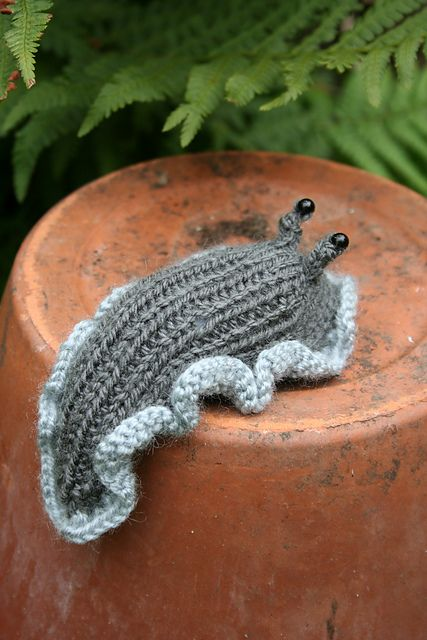 knitted slug, if only all slugs were this cute and non lettuce munching