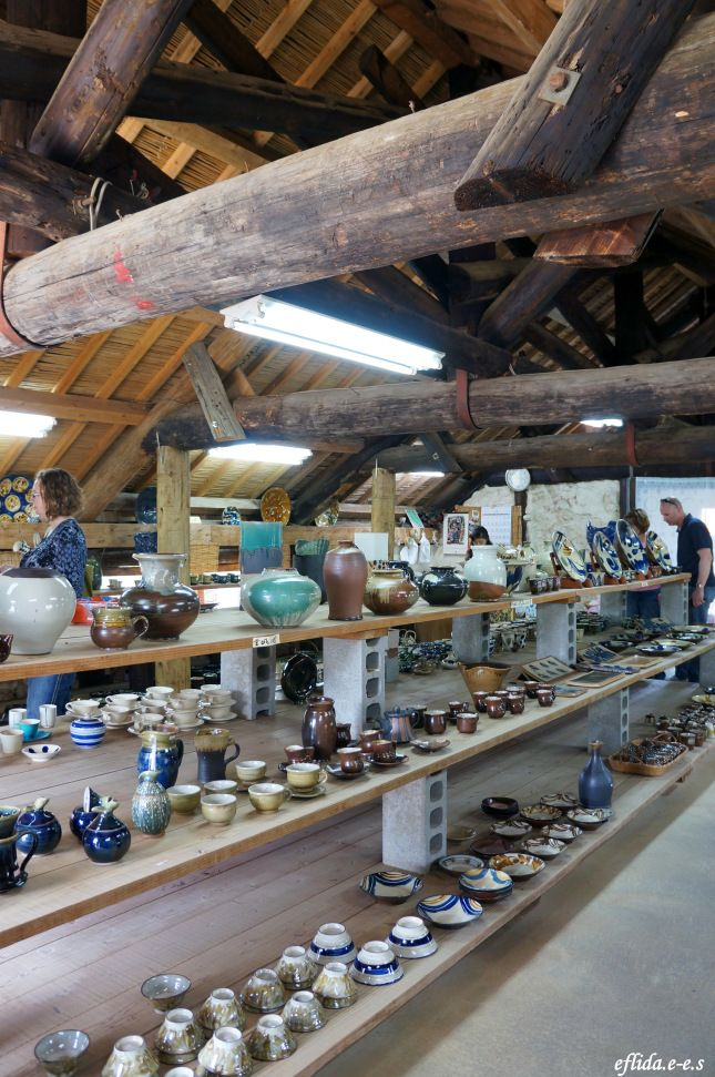 A beautiful display of ceramics Inside the big pottery den in Yomitan Pottery Village, Okinawa, Japan.