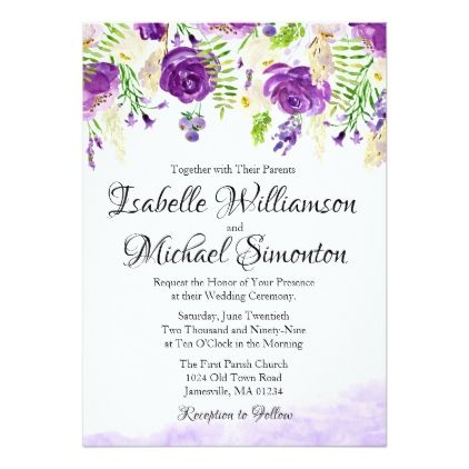 Ultra Violet Rose Floral Summer Wedding Invitation - summer wedding diy marriage customize personalize couple idea individuel