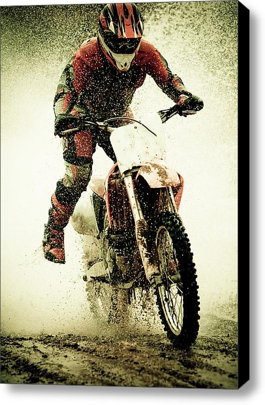 Dirt Bike Rider Stretched Canvas Print / Canvas Art By Thorpeland Photography need for husbands man cave