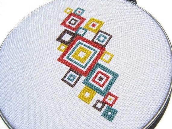 Mod squares modern cross stitch by wallwork on Etsy, $50.00