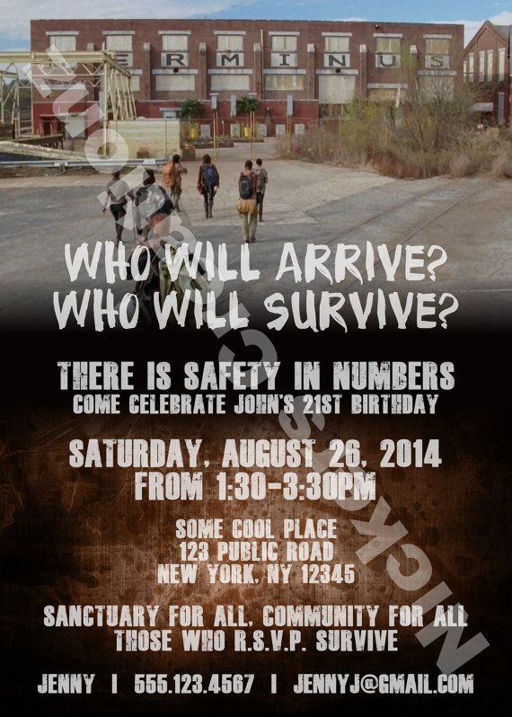 Party invitations based on the hit television series, The Walking Dead Season 5 Terminus themed. Can be customized for Birthday or other types