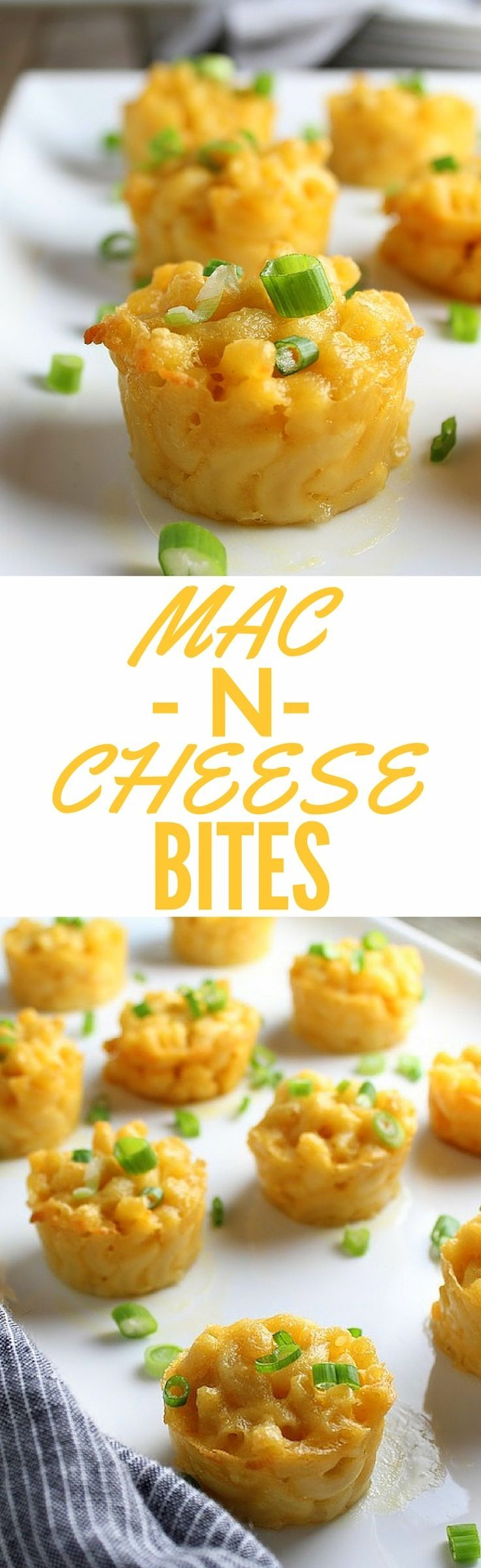 Mac N Cheese Bites recipe -  it's the ultimate comfort food!  A decadent combination of Gruyere & Cheddar cheese… little gifts of goodness in every bite! #macandcheese http://tasteandsee.com