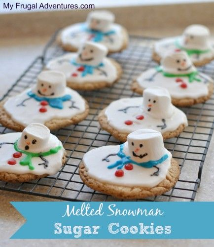 Melting Snowman Sugar Cookies- so silly and so fun! The kids will love these!