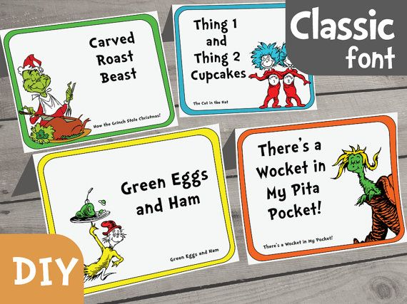 Dr. Seuss Food Label DIY Set of 40 PDF Form by AmpersandCreations