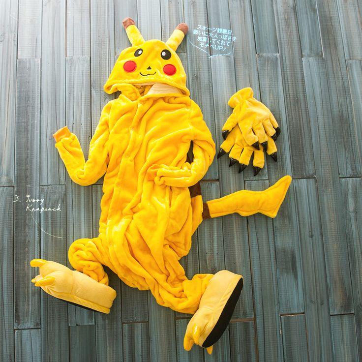 Primark Yellow Pikachu Adult Animal Onesies Footed Pajamas,adult plus size onesie,albornoz mujer animal costume S M L XL