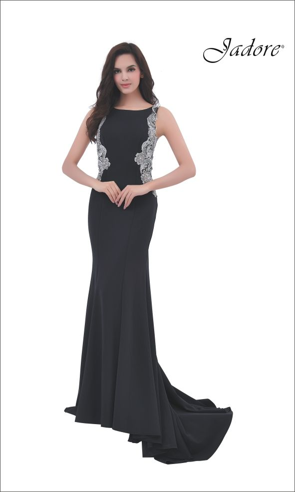 J11351 Low Back gown with Silver Lace Accents and fit and flare silhouette.  A perfect choice for Destination Bride, Beach Wedding, Bridesmaid, Maid of Honor, Prom, Pageant, Red Carpet, Evening Gown, Mother of the Bride, Mother of the Groom.  Can be special ordered in sizes 2-26 and in 13 Neoprene colors *Lace always silver.