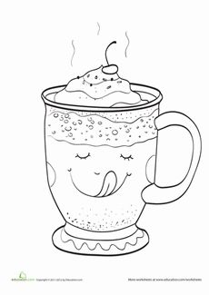Hot Chocolate Coloring Page Worksheet.....add candy cane for cute winter etching/engraving