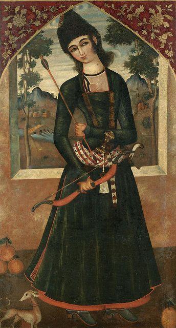تصویر جوان ، محمد صادق یا سید میرزا ، ابتدای قرن 19 میلادی، رنگ و روغن روی بوم،173 در 95 سانتیمتر. PORTRAIT OF A PRINCELY YOUTH, ATTRIBUTABLE TO MUHAMMAD SADIQ OR SAYYID MIRZA, QAJAR, PERSIA, EARLY 19TH CENTURY oil on canvas 173 by 95cm.