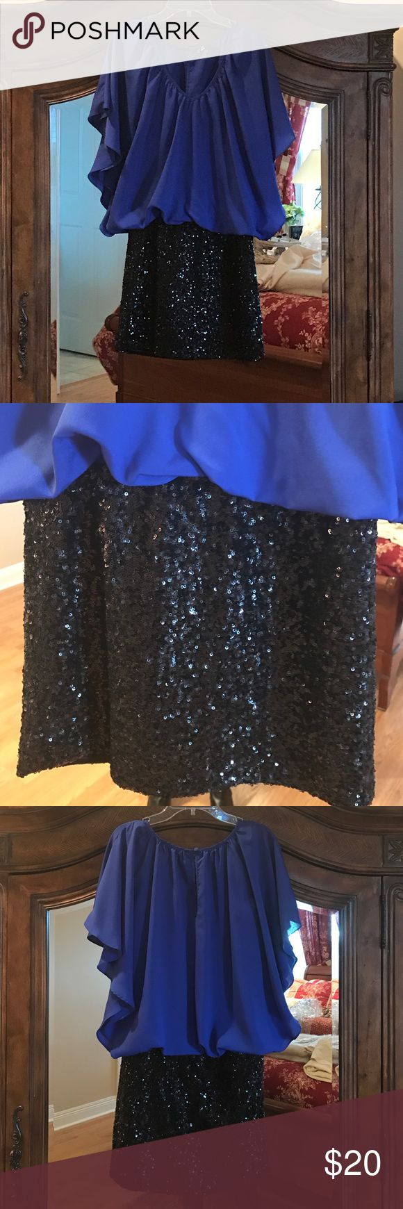 Party dress One piece dress...electric blue top and black sequin mini.  No stains or sequins missing. Dresses Mini