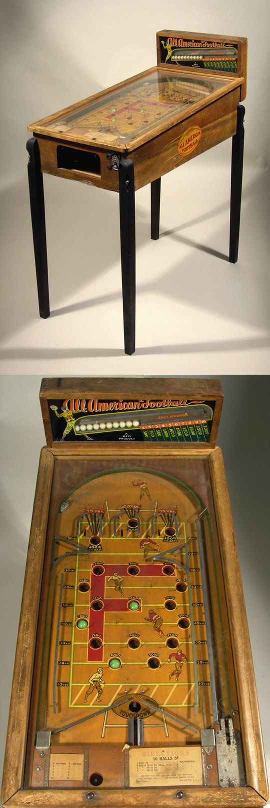 "All-American"" football coin operated pinball machine c.1930s. Vintage wooden cased pinball machine features painted football graphics on the interior playing field, along with a football decorated reverse painted glass backsplash containing playing marbles."