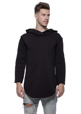 3/4 Long hoody black