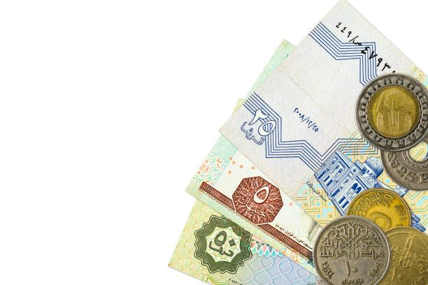 some egyptian pound bank notes and coins