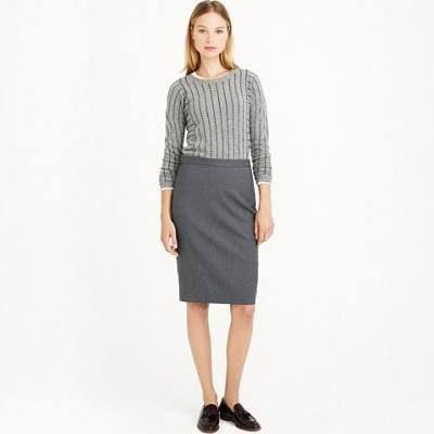J.Crew Womens Petite Pencil Skirt In Super 120S Wool