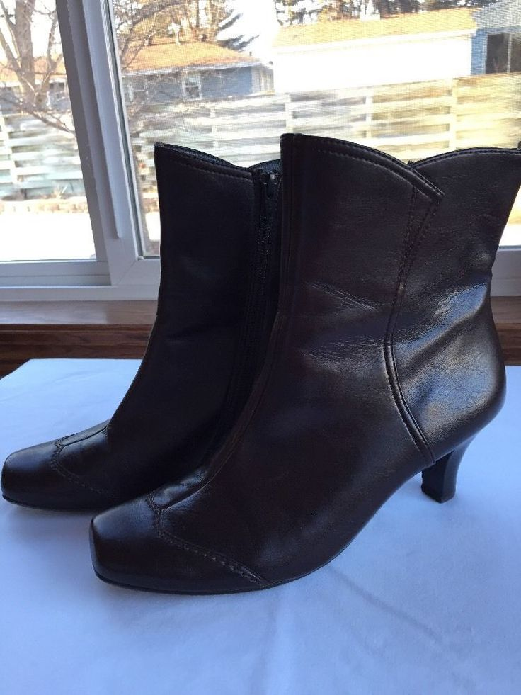 "Paul Green Handmade Brown Leather Ankle Boots Size 5 Heel 2.5"" WORN ONCE  #PaulGreen #AnkleBoots"