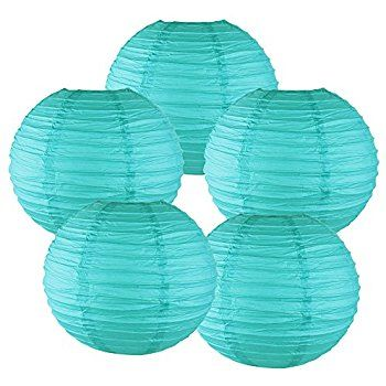 "Just Artifacts 6"" Turquoise Chinese Japanese Paper Lanterns (Set of 5) - More colors & Sizes! - - Amazon.com"