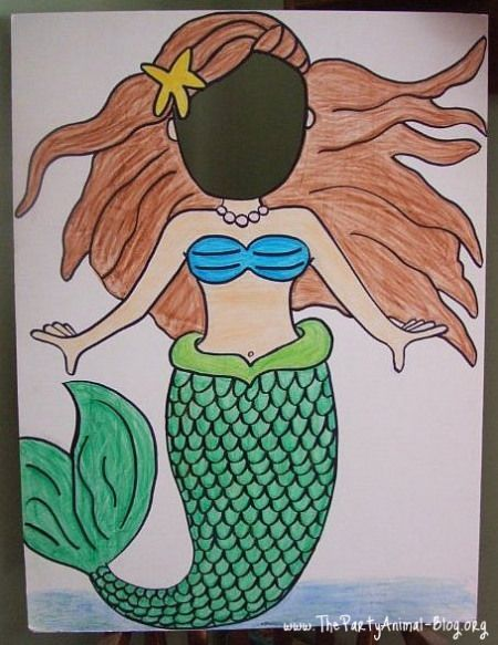 Guests will be having a ball when they step inside a mermaid stand-in cut-out. Let them visualize themselves as real mermaids with this cute photo op, shown here by the Party Animal. If your artsy, make one on your own, if not, there are many gorgeous options for purchase.