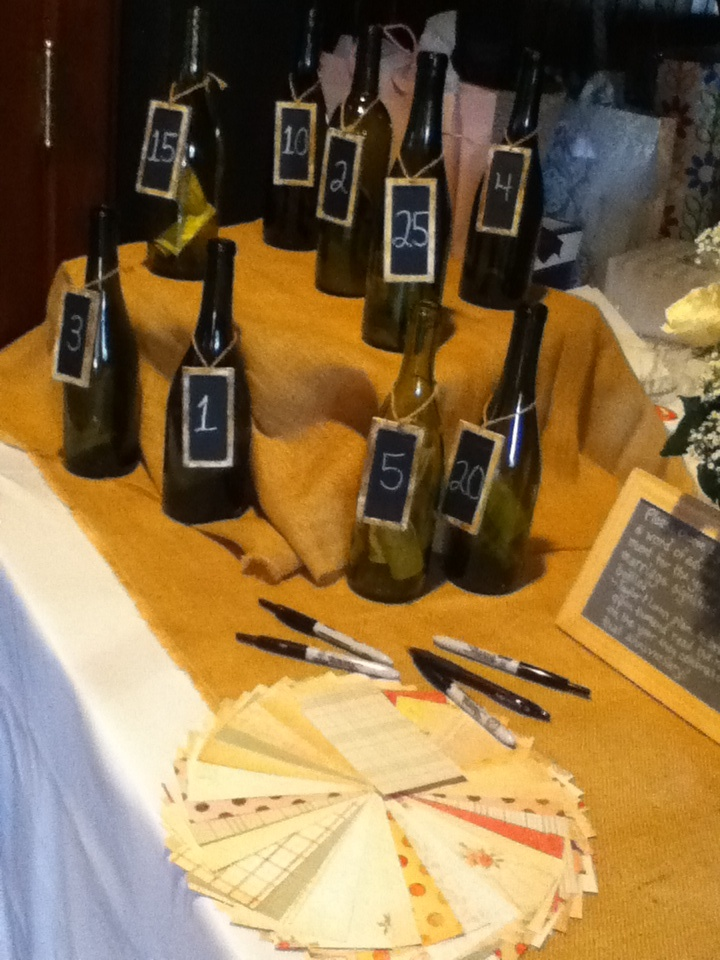 A great wedding idea instead of a Greeting book get some wine bottles right years like 5 or 15 on them and give some paper and pens out and let people right advice and stick it in the year you want them to read it! On the anniversary year the bottle says the new couple will break the bottle and read the advice or notes.