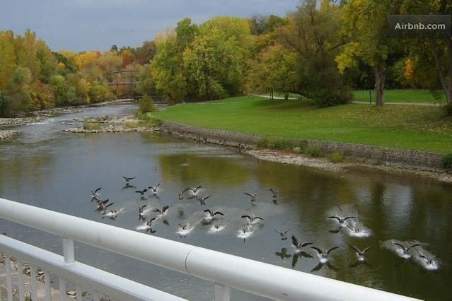 Thames River with Blackfriars Bridge in background, London, Ontario, Canada