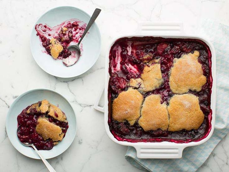 Mixed Berry Cobbler recipe from Ellie Krieger via Food Network - I used all purpose flour, no lemon zest, subbed whole milk for the buttermilk and added 1 tablespoon of tapioca to the berries.