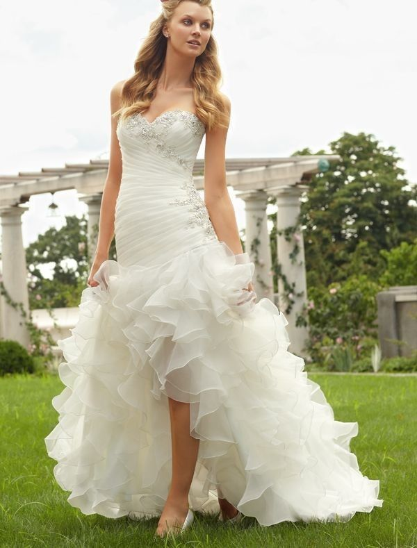 Organza Sweetheart Neckline A-Line Wedding Dress with Tiered Ruffle High-Low Skirt