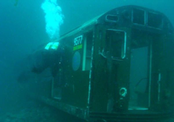 Railroad car sunk as part of an artificial reefThe Department of Natural Resources and Environmental Control, responsible for this programme (which was doubted at first) was successfully able to repopulate this area with fish and other marine species, thanks to the crafty use of these wagons. In fact, a 400-fold increase in the amount of plankton and small baitfish is drawing in the larger fish at such a rate that it's a struggle to find more old subway cars to sink. The Redbird reef site…