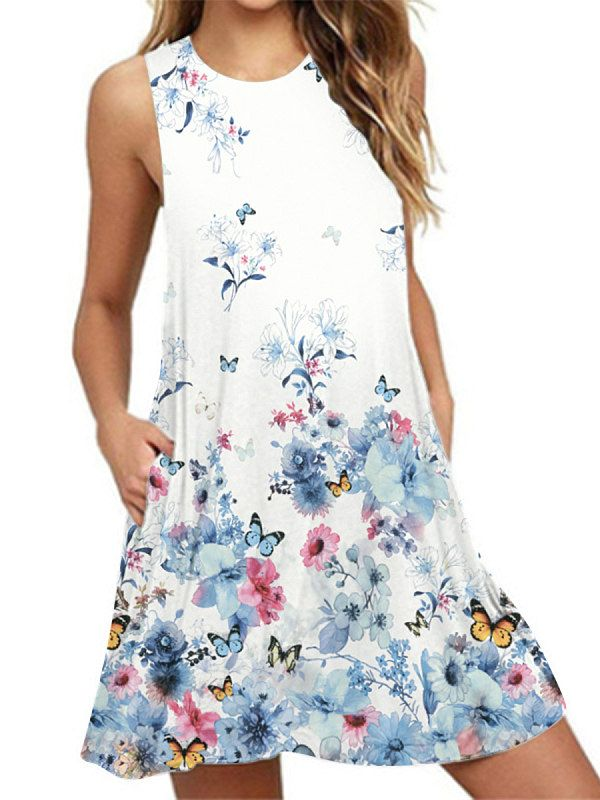 b0f1521c8a94a Round Neck Basic Beach Printed Shift Dress in 2019 | Pretty Clothes ...