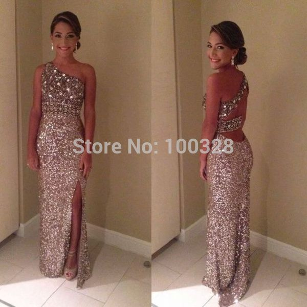Find More Prom Dresses Information about 2014 New Fashion Free Shipping Floor Length One Shoulder Sleeveless Slit Backless Crystal Straight Sequines Prom/Evening Dresses,High Quality sequin shift dress,China dress voile Suppliers, Cheap sequin collar from Rose Wedding Dress Co., Ltd on Aliexpress.com