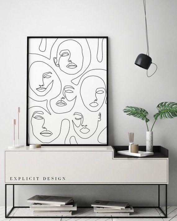 Druckbare abstrakte Gesichter in Linien, eine Linie Artwork Print, Mode Poster, minimalistische Frau Zeichnung, moderne Dekor, Mädchen Gesicht Skizze Kunst