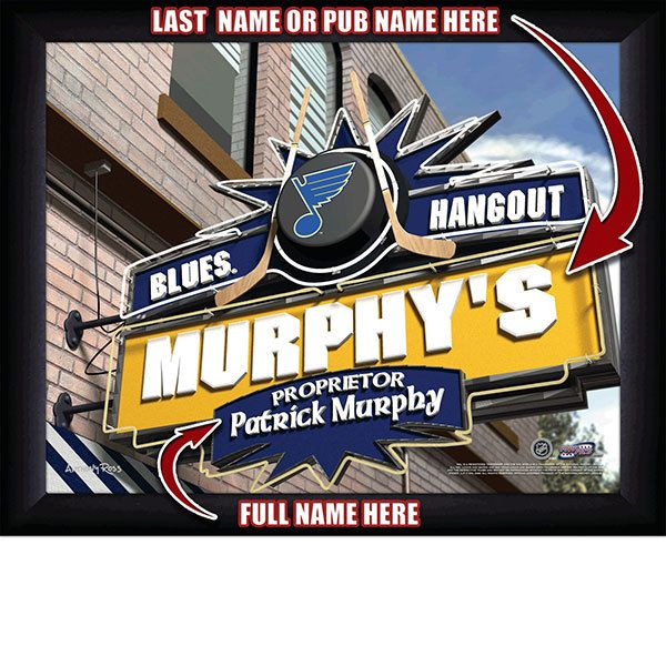 St. Louis Blues NHL Hockey - Personalized St. Louis Blues Pub Hangout Print / Picture. Now, with our Personalized NHL Sports Pub Hangout Print, your favorite fan can become the Proprietor of THEIR OWN Sports Bar! This exciting gift is perfect for any NHL hockey fan. Optional framing with mat is available. Perfect for gifts, rec room, man cave, bar, office, etc.  (http://www.oakhousesportsprints.com/st-louis-blues-pub-hangout-print/)