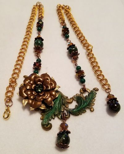Chocolate Brass Rose on Green patinated Leafy Swag with Green Fire Crackle Agates and Czech glass