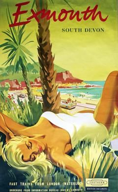 Exmouth, U.K. vintage beach travel poster