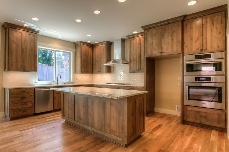 Kitchen, Knotty Alder Cabinets, White Oak Floors