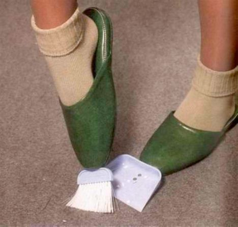 shoes with broom attached