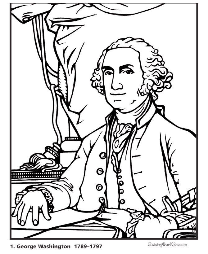 Printable President George Washington coloring page and