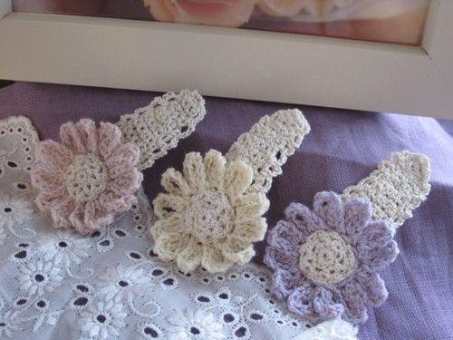 大人もできるパステル&レースの花ピン #101の作り方|編み物|編み物・手芸・ソーイング|ハンドメイド | アトリエ