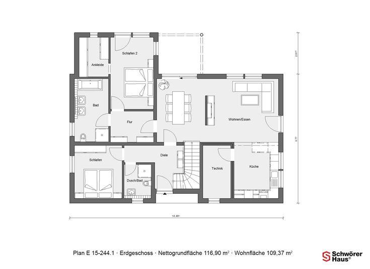 Erdgeschoss Grundriss Schwörer Plan E 15 244.1 Mit 109,37m² Wohnfläche
