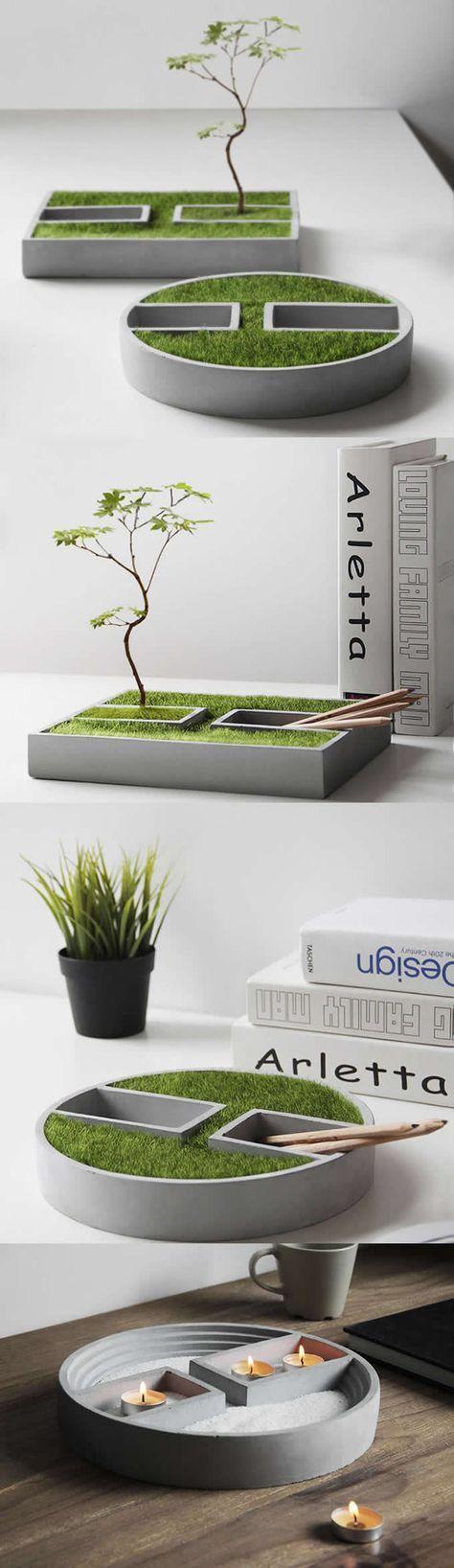 Concrete Handmade Modern Succulent Planter Flower Pot Pen
