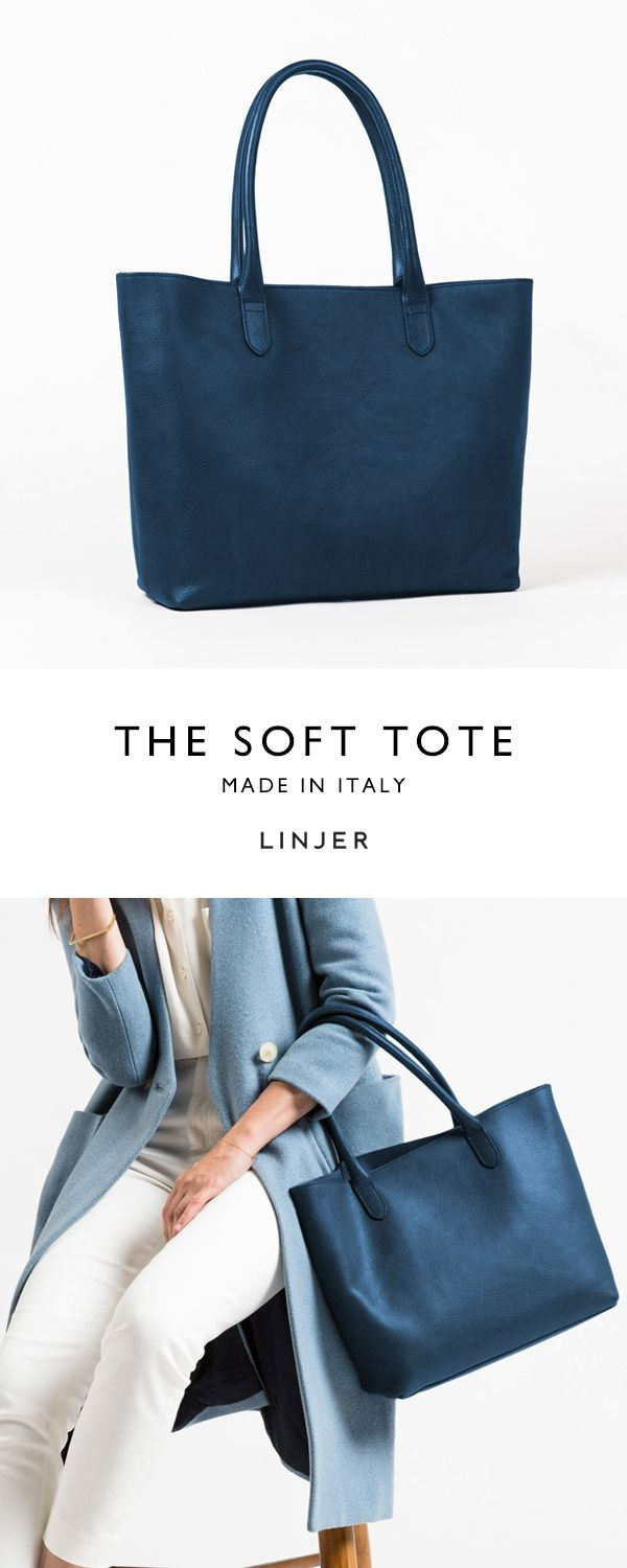 Bright navy soft tote from Linjer. 100% vegetable-tanned leather
