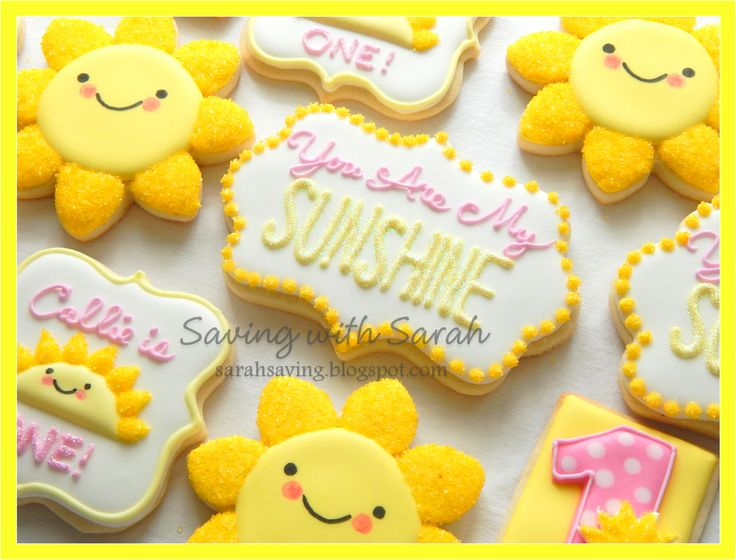 You Are My Sunshine Cookies, 1st Birthday Cookies, Yellow and Pink Cookies, Decorated Sugar Cookies