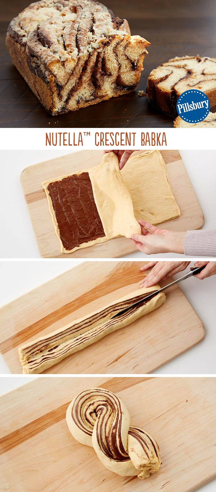 Indulgence doesn't take a backseat with this amazing Nutella Cresent Babka! If you love the original, this is a fun twist that uses on 5 ingredients -- you'll be making it over and over again! This delicious dessert or morning snack is made with crescent dough. Serve it at a party to delight all your guests!