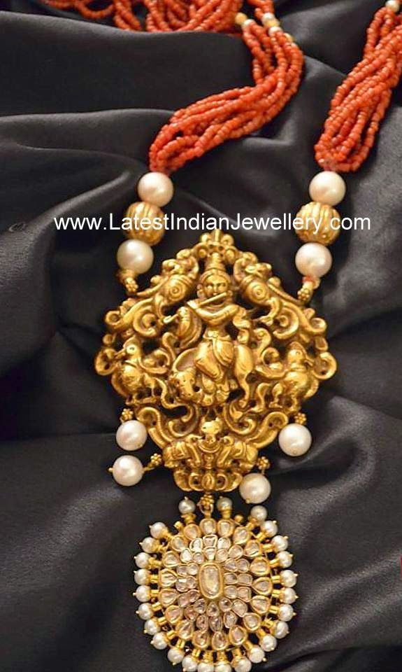 Coral Beads Necklace Gold Krishna Pendant